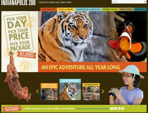 Indianapolis Zoo Website Screenshot