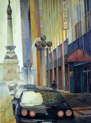 120 E Market in water color by Ryan Petrow